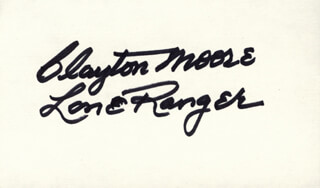 Autographs: CLAYTON THE LONE RANGER MOORE - COLLECTION WITH JAY TONTO SILVERHEELS