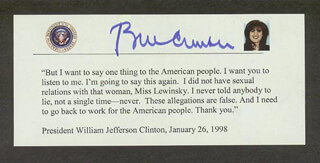 Autographs: PRESIDENT WILLIAM J. BILL CLINTON - QUOTATION SIGNED