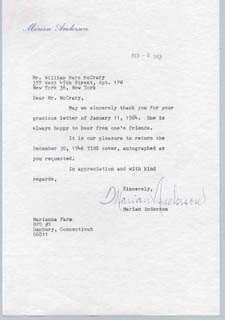 Autographs: MARIAN ANDERSON - TYPED LETTER SIGNED 02/03/1963