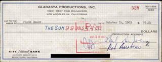 PHIL SILVERS - AUTOGRAPHED SIGNED CHECK 10/14/1963 CO-SIGNED BY: ROD AMATEAU