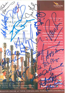 RICHIE HAVENS - AUTOGRAPHED SIGNED PHOTOGRAPH CIRCA 2004 CO-SIGNED BY: LES PAUL, ALLAN HOLDSWORTH, ERIC JOHNSON, JOHN HAMMOND, DEREK TRUCKS, ANDY SUMMERS, PACO PENA, MARTY FRIEDMAN, JUAN MARTIN, ALBERT LEE, JERRY DOUGLAS, SERGIO ASSAD, ODAIR ASSAD, DICK DALE