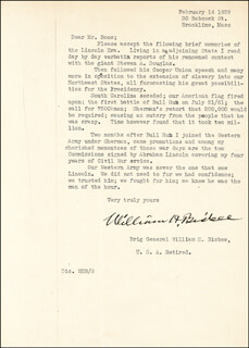 BRIGADIER GENERAL WILLIAM H. BISBEE - TYPED LETTER SIGNED 02/14/1939