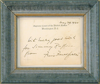 Autographs: ASSOCIATE JUSTICE FELIX FRANKFURTER - AUTOGRAPH NOTE ON SUPREME COURT CARD SIGNED CIRCA 1940