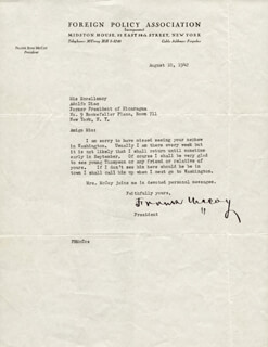 MAJOR GENERAL FRANK ROSS McCOY - TYPED LETTER SIGNED 08/10/1942