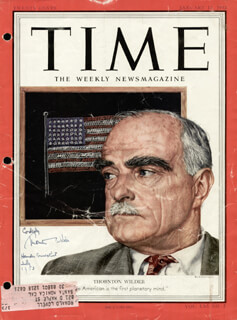 THORNTON WILDER - MAGAZINE COVER SIGNED 7/1953