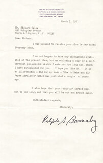 Autographs: RALPH S. BARNABY - TYPED LETTER SIGNED
