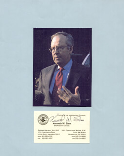 KENNETH W. STARR - BUSINESS CARD SIGNED