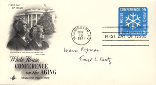 EARL L. BUTZ - FIRST DAY COVER WITH AUTOGRAPH SENTIMENT SIGNED