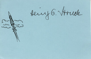 Autographs: HEINZ G. STRUCK - PRINTED CARD SIGNED IN INK