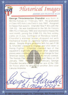 Autographs: GEORGE T. CHANDLER - TRADING/SPORTS CARD SIGNED 05/21/1998