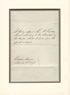 Autographs: PRESIDENT ULYSSES S. GRANT - DOCUMENT SIGNED 03/06/1873
