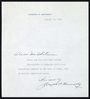 JOSEPH P. KENNEDY SR. - TYPED LETTER SIGNED 08/23/1944