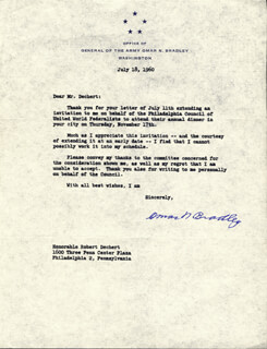 Autographs: GENERAL OMAR N. BRADLEY - TYPED LETTER SIGNED 07/18/1960