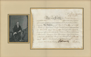ROBERT MORRIS - STOCK CERTIFICATE SIGNED 04/18/1795 CO-SIGNED BY: JAMES MARSHALL