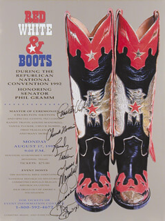 CHARLTON HESTON - AUTOGRAPHED SIGNED POSTER CIRCA 1992 CO-SIGNED BY: LOUISE MANDRELL, SUSAN HOWARD, RANDY TRAVIS, CHUCK NORRIS, FRED TRAVALENA
