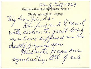 ASSOCIATE JUSTICE STANLEY F. REED - AUTOGRAPH LETTER SIGNED 08/01/1969 CO-SIGNED BY: WINIFRED ELGIN REED