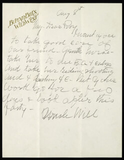 WILLIAM F. BUFFALO BILL CODY - AUTOGRAPH LETTER SIGNED 08/08