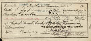 Autographs: THOMAS A. EDISON - PROMISSORY NOTE SIGNED 07/20/1921 CO-SIGNED BY: GOVERNOR CHARLES EDISON, STEPHEN B. MAMBERT, HARRY F. MILLER