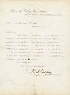 RICHARD J. GATLING - TYPED LETTER SIGNED 04/14/1885