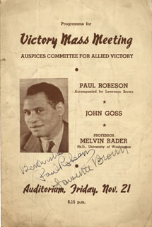 Autographs: PAUL L. ROBESON - PROGRAM SIGNED CIRCA 1941 CO-SIGNED BY: LAWRENCE BROWN