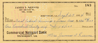 MARY REEVES - AUTOGRAPHED SIGNED CHECK 09/27/1954
