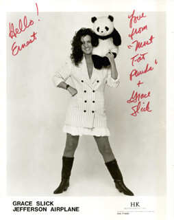 JEFFERSON AIRPLANE (GRACE SLICK) - INSCRIBED PRINTED PHOTOGRAPH SIGNED IN INK