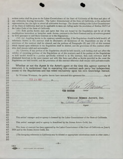 VIC MORROW - CONTRACT SIGNED 02/26/1957