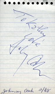 JOHNNY CASH - INSCRIBED SIGNATURE CIRCA 1988