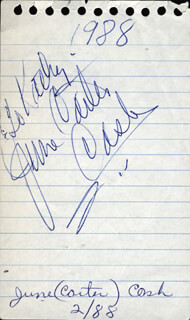 JUNE CARTER CASH - INSCRIBED SIGNATURE CIRCA 1988