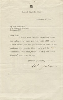 AL JOLSON - TYPED LETTER SIGNED 02/23/1927