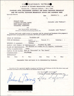 RICHARD BOONE - DOCUMENT SIGNED 11/04/1959