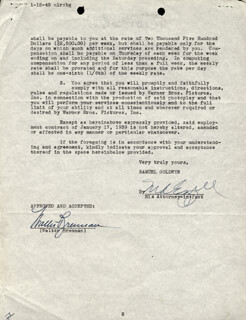WALTER BRENNAN - DOCUMENT SIGNED 01/12/1945