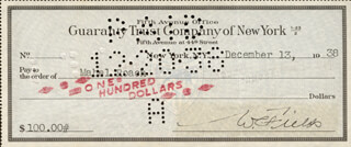 W. C. FIELDS - AUTOGRAPHED SIGNED CHECK 12/13/1938