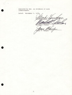 SARAH VAUGHAN - DOCUMENT SIGNED 11/03/1975 CO-SIGNED BY: MARSHALL FISHER, JAMES F. HARPER