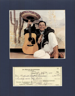 JIM GENTLEMAN JIM REEVES - AUTOGRAPHED SIGNED CHECK 01/07/1960