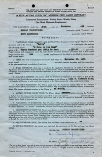 FRANK CAPRA - DOCUMENT SIGNED 11/28/1958 CO-SIGNED BY: RUBY DANDRIDGE