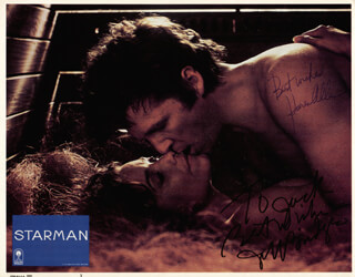 STARMAN MOVIE CAST - INSCRIBED LOBBY CARD SIGNED CO-SIGNED BY: JEFF BRIDGES, KAREN ALLEN