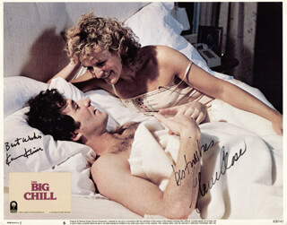 THE BIG CHILL MOVIE CAST - LOBBY CARD SIGNED CO-SIGNED BY: GLENN CLOSE, KEVIN KLINE