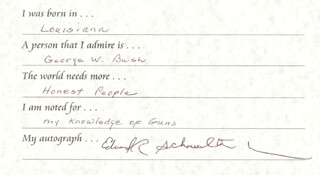 Autographs: EDWARD R SCHOWALTER JR. - QUESTIONNAIRE SIGNED