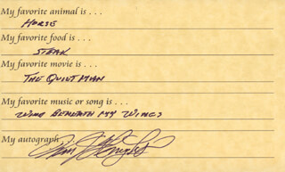 Autographs: COLONEL WILLIAM J. PETE KNIGHT - QUESTIONNAIRE SIGNED
