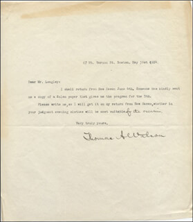 THOMAS A. WATSON - TYPED LETTER SIGNED 05/21/1924