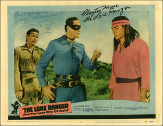 Autographs: THE LONE RANGER AND THE LOST CITY OF GOLD MOVIE CAST - LOBBY CARD SIGNED CO-SIGNED BY: CLAYTON THE LONE RANGER MOORE, JAY TONTO SILVERHEELS