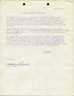 MICHAEL LANDON - DOCUMENT SIGNED 04/17/1958