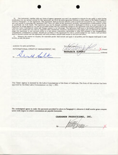 NASTASSIA KINSKI - CONTRACT SIGNED 12/17/1990
