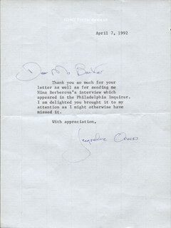 FIRST LADY JACQUELINE B. KENNEDY - TYPED LETTER SIGNED 04/07/1992