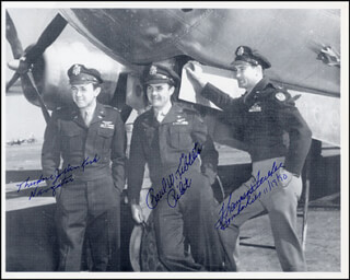 Autographs: ENOLA GAY CREW - PHOTOGRAPH SIGNED 11/19/1990 CO-SIGNED BY: ENOLA GAY CREW (THEODORE VAN KIRK), ENOLA GAY CREW (PAUL W. TIBBETS), ENOLA GAY CREW (COLONEL THOMAS W. FEREBEE)