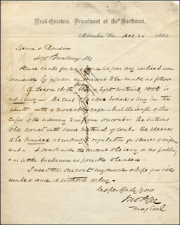 GENERAL JOHN POPE - AUTOGRAPH LETTER SIGNED 12/26/1864