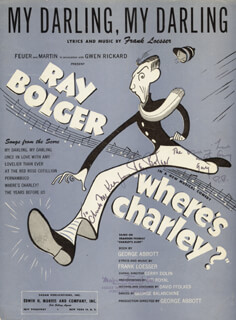 RAY BOLGER - INSCRIBED SHEET MUSIC SIGNED  - HFSID 269563