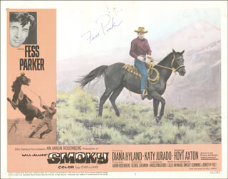 Autographs: FESS PARKER - LOBBY CARD SIGNED