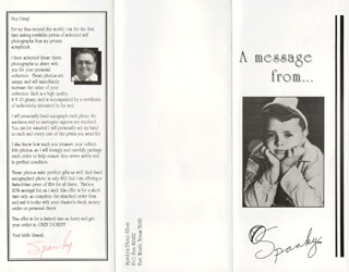 SPANKY McFARLAND - ADVERTISEMENT SIGNED